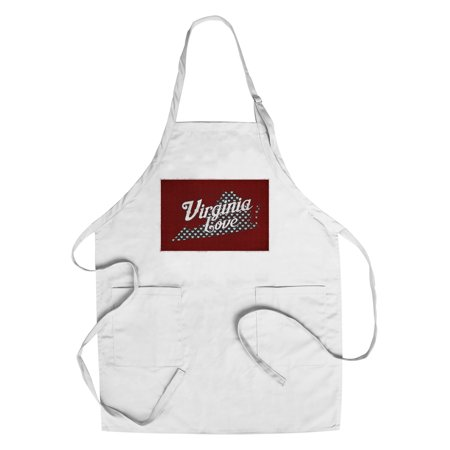 Virginia - Love - State Outline with Heart Pattern - Lantern Press Artwork (Cotton/Polyester Chef