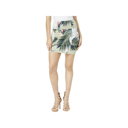 Guess Womens Georgina Floral Print Jersey Mini Skirt ()