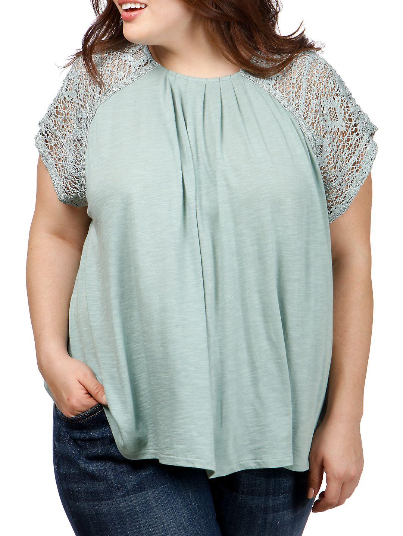 Plus Lace Short-Sleeve Top