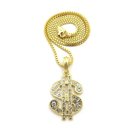 Stone Stud Dollar Sign $ Pendant with Chain Necklace - 2mm 24
