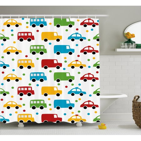 Kids Silhouette (Cars Shower Curtain, Vivid Colored Silhouettes of Transportation Vehicles Bus Taxi Automobile Kids Pattern, Fabric Bathroom Set with Hooks, Multicolor, by)