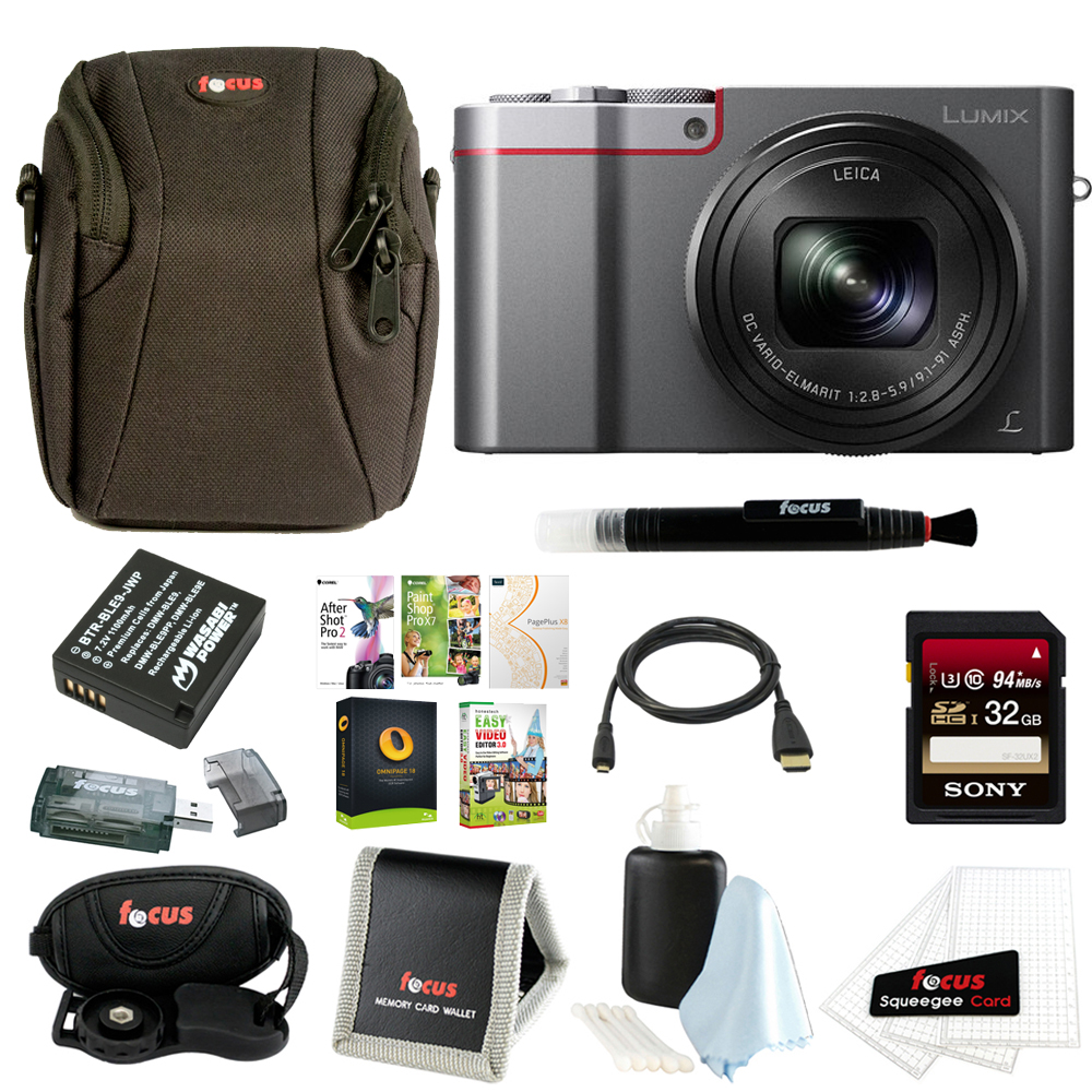 Panasonic LUMIX ZS100 4K Digital Camera (Silver) + 32GB Card + Battery + Software Suite + Accessory Bundle