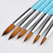 AkoaDa 6Pcs Kolinsky Sable Hair Acrylic Round Nail Art Paint Brush Set