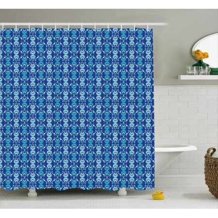 Blue Shower Curtain Scribble Style Ethnic Pattern With Ikat Inspired Folk Motifs Fabric Bathroom