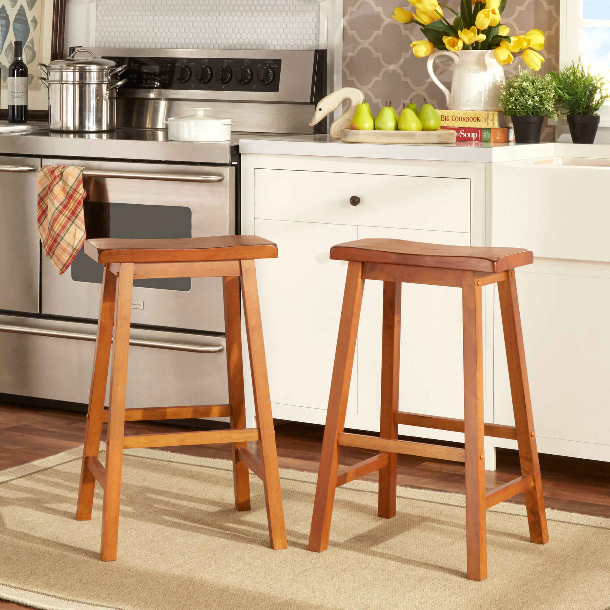Ashby Bar Stools 29 Set Of 2 Oak Walmart Com