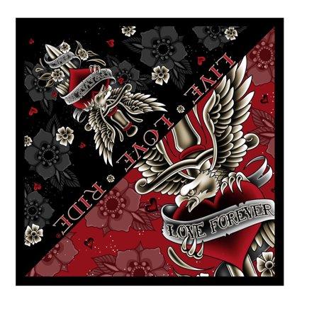 Officially Licnesed  Signature Bikers Bandanas Collection Original Design  21  X 21    Bandana Dagger Heart   Forever In Love