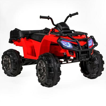 12V Battery Powered Kids Ride-On ATV Quad Monster W/MP3 (L) --RED](Monster Kids)