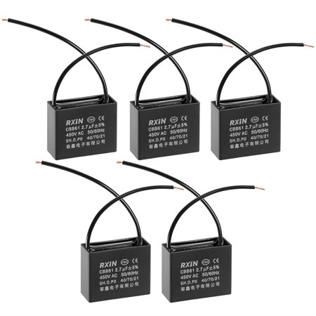 CBB61 Run Capacitor 450V AC 2.7uF 2-wire Metallized Polypropylene Film Capacitors for Ceiling Fan 5Pcs - image 1 of 3
