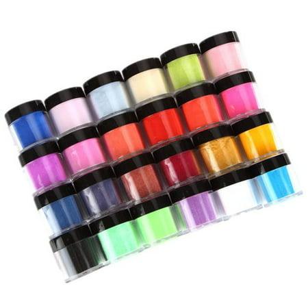 24 Colors Acrylic Nail Art Tips UV Gel Powder Dust Design Decoration 3D