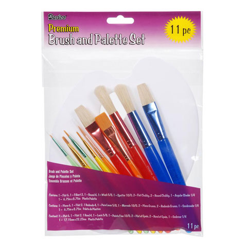 Darice 11 Piece Painting Set With Brush Assortment And Palette