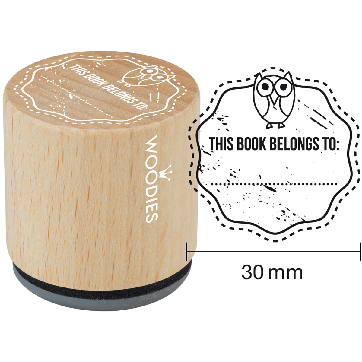 "Woodies Mounted Rubber Stamp 1.35""-This Book Belongs To"