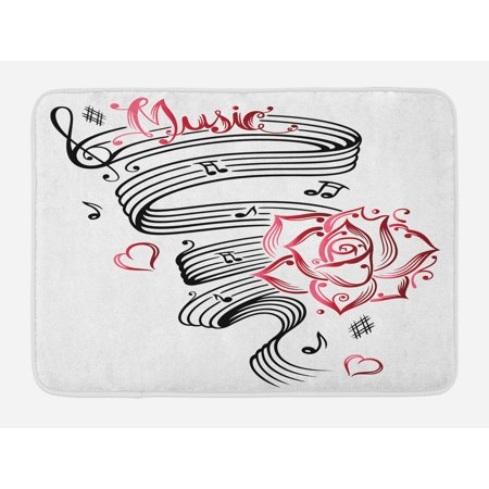 Tattoo Bath Mat, Language of Love Musical Note Inspiration on Music Sheet with Rose Hearts, Non-Slip Plush Mat Bathroom Kitchen Laundry Room Decor, 29.5 X 17.5 Inches, White Black and Pink, Ambesonne