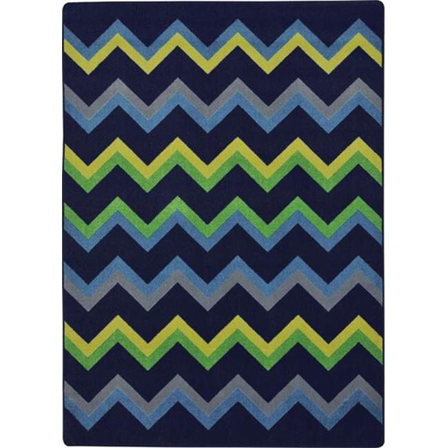 Joy Carpets 1861C-02 Sonic Teen Area Rugs - 5 ft.  4 inch x 7 ft.  8 inch - Navy