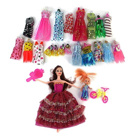 - Beauty Fashion Girl Kid's Toy Doll Fashion Variety Wardrobe Set w/ 2 Dolls, 18 Different Outfits, & Accessories, Clothes for dolls