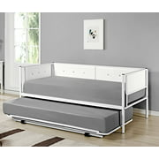 twin white upholstered faux leather metal day bed frame with pop up high riser trundle