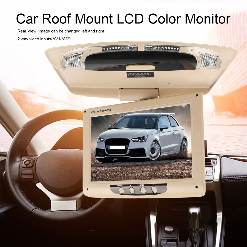 9 inch 800*480 Car Roof Mount LCD Color Monitor Flip Down Screen Multimedia