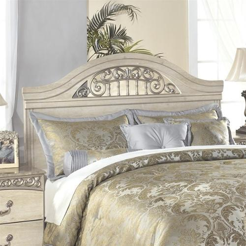 Ashley Catalina Wood Full Queen Panel Headboard in Antique White