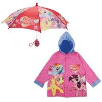 Hasbro My Little Pony Slicker and Umbrella Rainwear Set, Little Girls, Age 2-7
