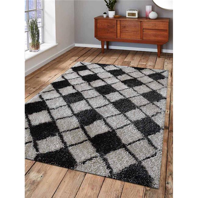 5 x 8 ft. Shag Geometric Hand Tufted Polyester Area Rug, Gray & White - image 1 of 1