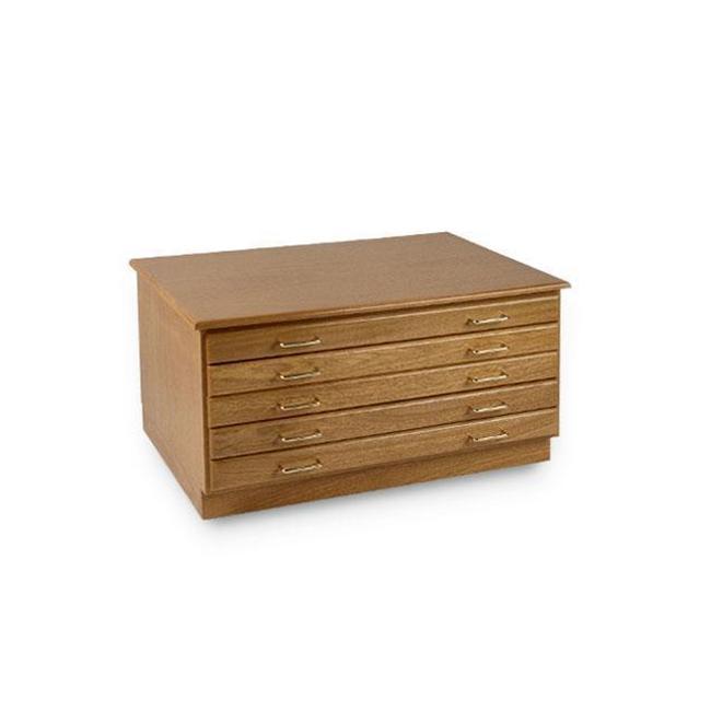 Alvin 3648-5D Smi 5-Drawer Flat File - Medium Oak
