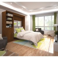 Versatile by Bestar 92'' Queen Wall Bed Kit featuring 1 Door Storage in Tuscany Brown