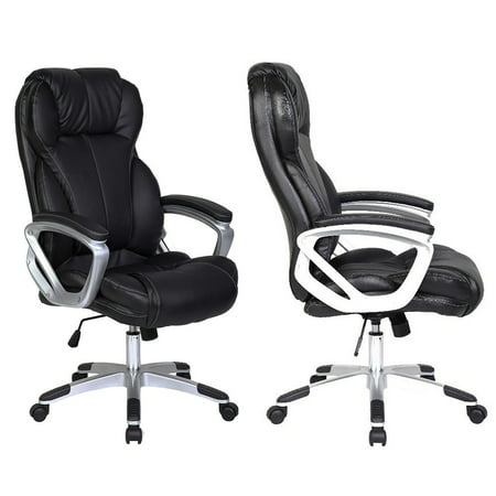 2xhome Set of 2 - Black - Deluxe Professional PU Leather Big Tall Ergonomic Office High Back Chair Manager Task Conference Executive Swivel Tilt Padded