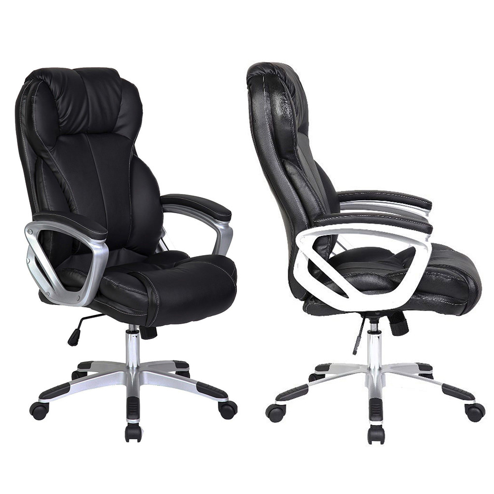 2xhome Set of 2 - Black - Deluxe Professional PU Leather Big Tall Ergonomic Office High Back Chair Manager Task Conference Executive Swivel Tilt Padded Arms