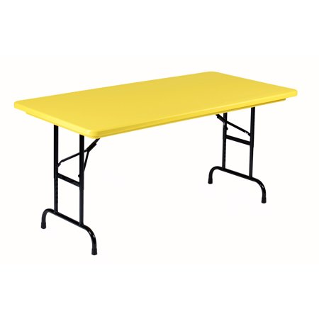 Correll YELLOW Commercial Duty, Adjustable Height Plastic Top Folding Table. Height Adjusts from 22