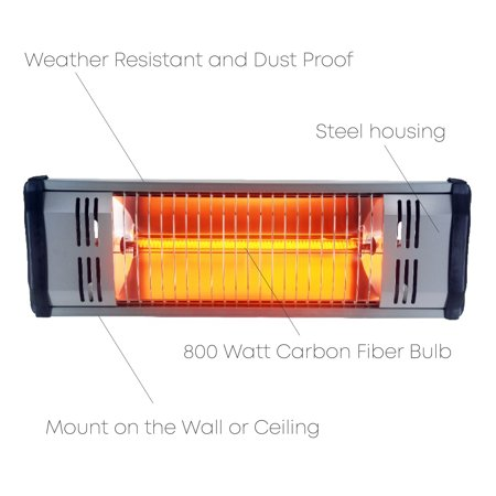 Heat Storm Outdoor Infrared Heater IP35 Rated - Maintenance Free - Silent Directional Heating (800 W 6.5'