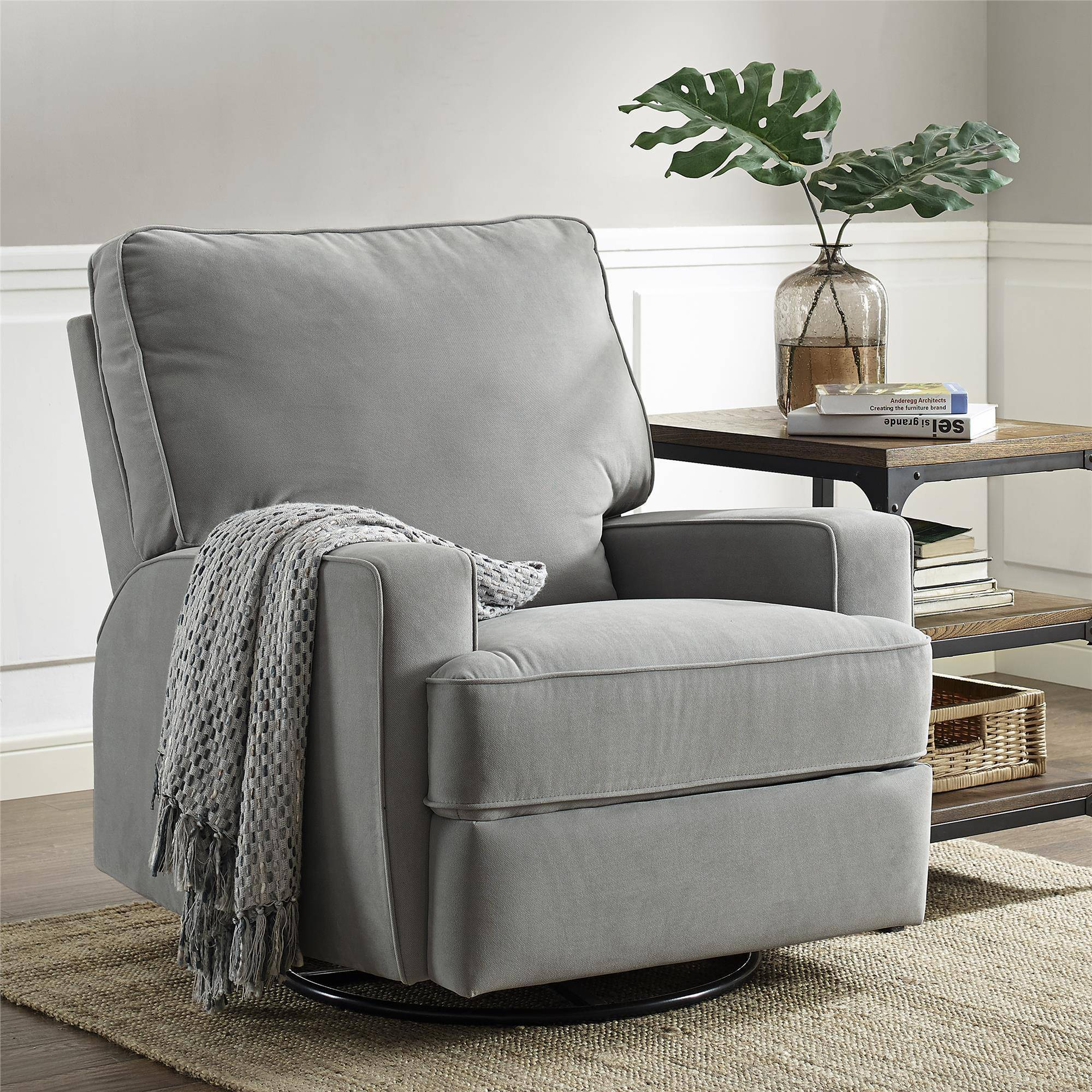 Image of: Baby Glider Rocking Chair Nursery Recliner Nursing Seat Swivel Furniture Gray Ebay