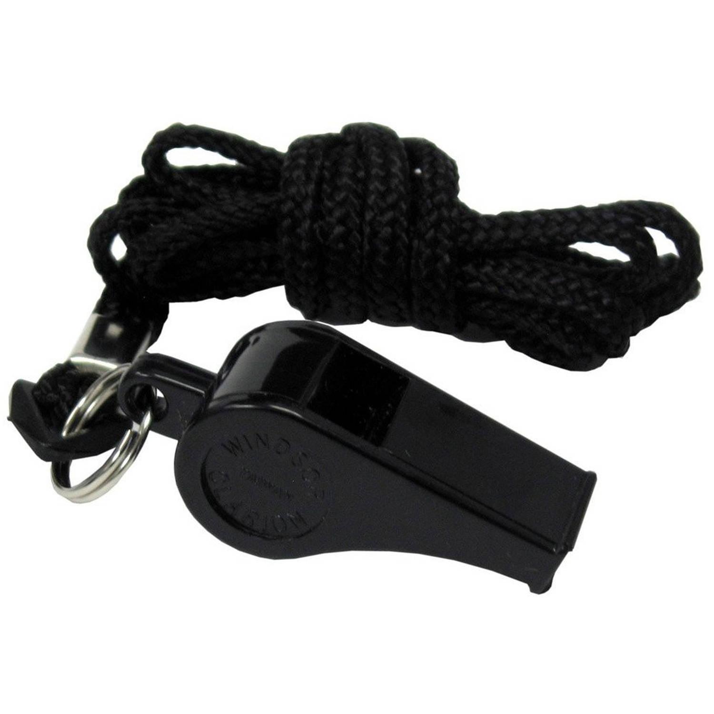 DT Super Pro Black Dog Training Whistle & Black Nylon Lanyard