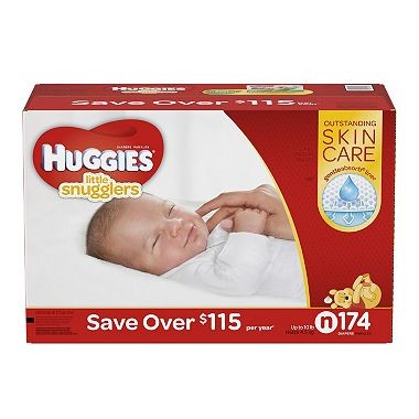 HUGGIES Little Snugglers Diapers, Size Newborn, 174 Count