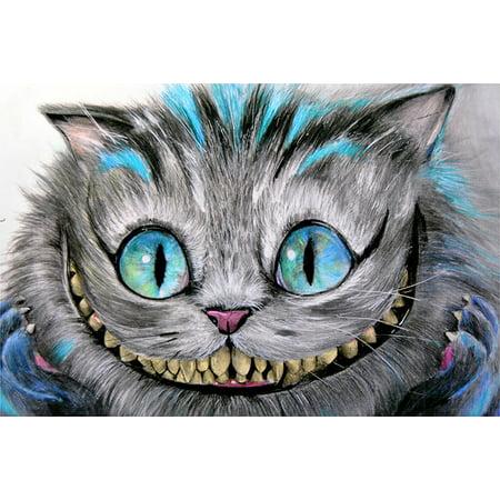Cheshire Cat by Manuela Lai Alice in Wonderland Tattoo Design Art Poster Print](Cheshire Cat Tattoo)