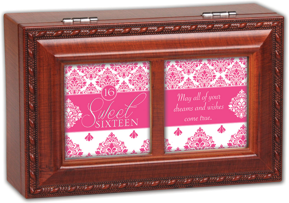 Cottage Garden Sweet Sixteen Woodgrain Petite Music Box   Jewelry Box Plays L... by