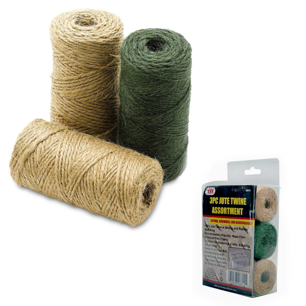 3 Rolls 443' Premium Jute Twine String Natural 2Ply Cord Rope Craft Gift DIY Pet