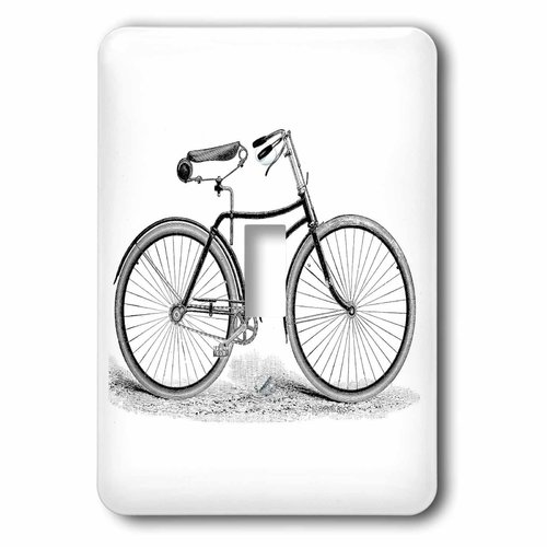 3dRose Black and white vintage bicycle pen and ink drawing print - old-fashioned cycler cycling bike, Single Toggle Switch