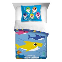 Baby Shark Kids 2pc Twin/Full Reversible Comforter and Sham Bedding Set, Shark Family