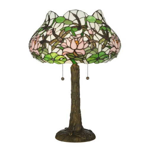 """Meyda Tiffany 125091 Dragonfly Flower 2 Light 22.5"""" Tall Hand-Crafted Table Lamp with Stained Glass by Meyda Tiffany"""