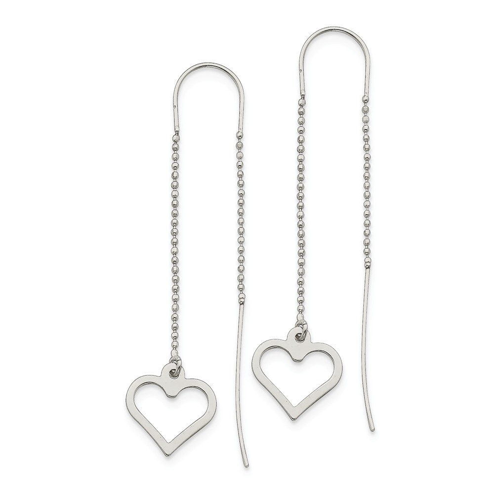 Sterling Silver Fancy Heart Threader Earrings (2.5IN x 0.6IN )