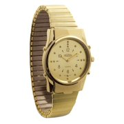 Mens Gold-Tone Braille and Talking Watch - Exp Band