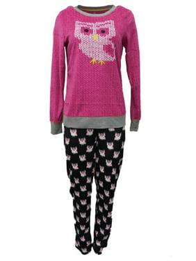 Celestial Dreams Womens Pink & Black Owl Print Pajamas Fleece Pajama Set