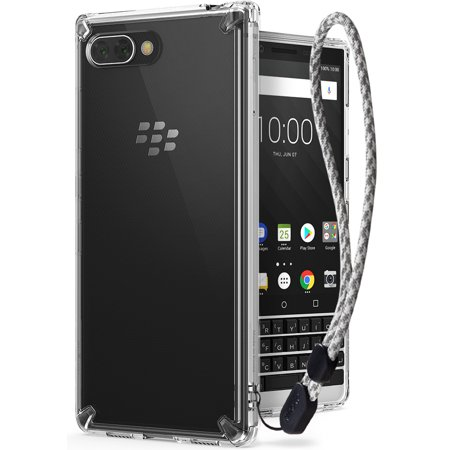 BlackBerry KEY2 Case, Ringke [FUSION] Crystal Clear PC Back Case Lightweight Upgraded Transparent TPU Bumper Drop Protective Phone Cover with Wrist Strap for BlackBerry KEY 2 (2018) - (Blackberry Phone Cover)