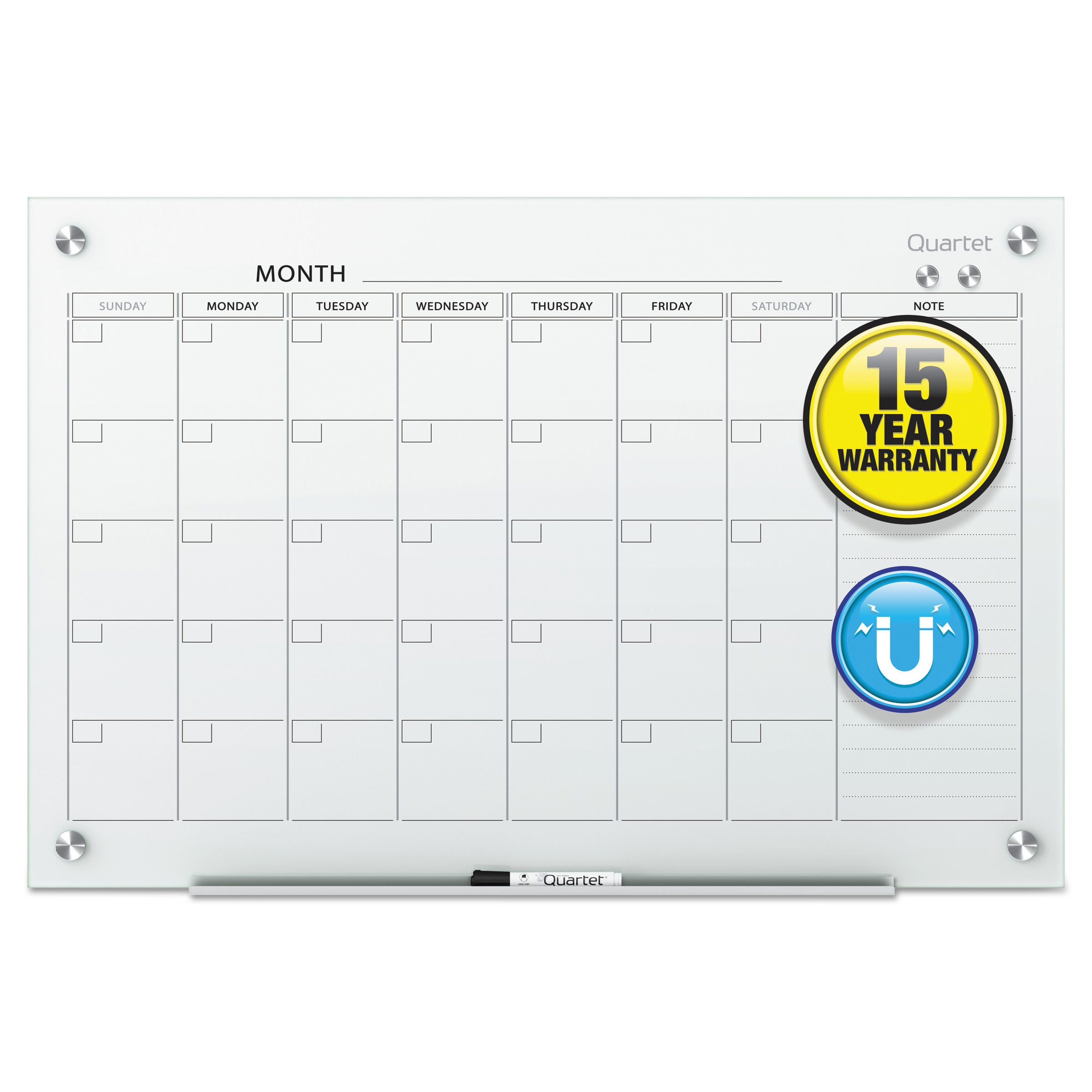 Quartet Infinity Magnetic Glass Calendar Board, 48 x 36 -QRTGC4836F
