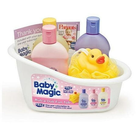 Baby Magic Rub-A-Dub Fun Tub Kit- Original Lotion, Calming Bath, Powder Scent Hair & Body Wash, Duck Pouf - Baby Powder In Hair Halloween