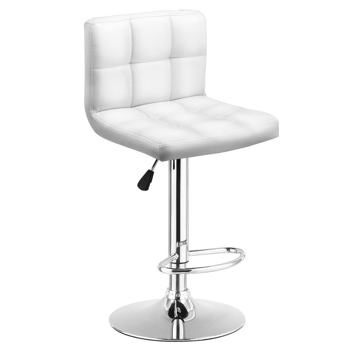 Costway 1 PC Bar Stool Swivel Adjustable PU Leather Bar Stools Bistro Pub Chair White by Costway