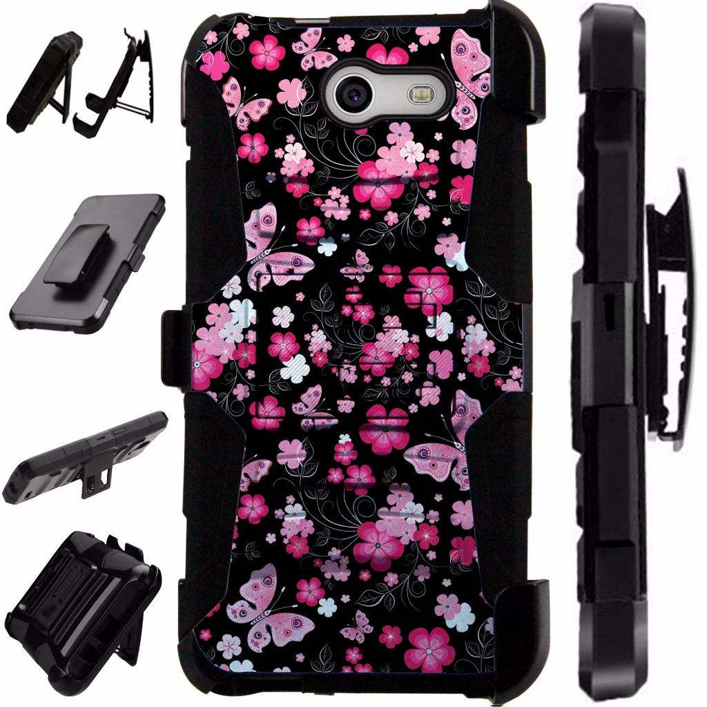 For Samsung Galaxy J7V / Galaxy Halo / J7 Prime / J7 Perx / J7 Sky Pro / J7 J727 Case Hybrid Armor Dual Layer Cover Stand Rugged LuxGuard Holster (Pink Butterfly)
