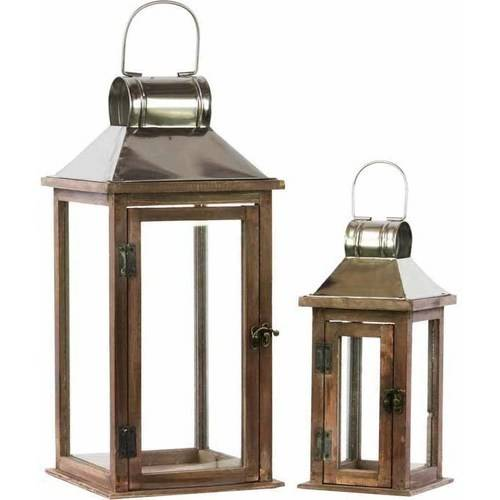 Urban Trends Collection: Wood Lantern, Stained Wood Finish, Silver, Brown