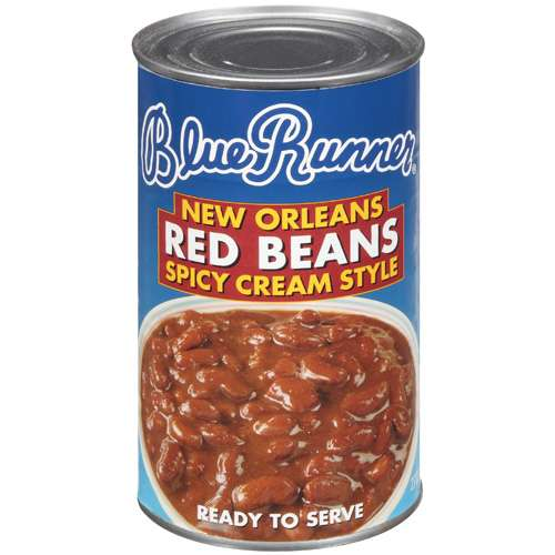 (6 Pack) Blue Runner New Orleans Spicy Cream Style Red Beans, 27 Oz