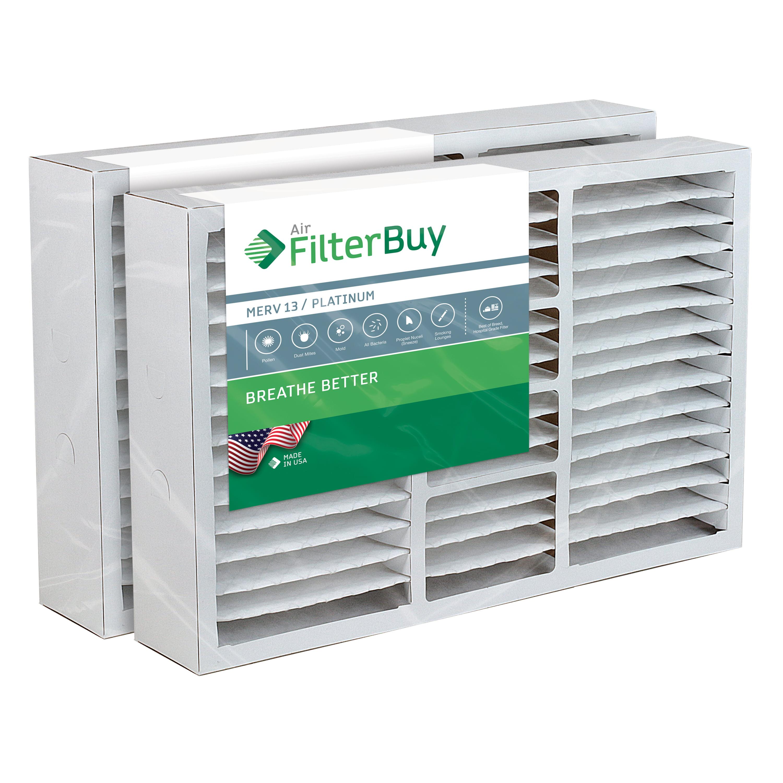 2 - 16x25x5 Carrier FILXXCAR0016 Pleated AC Furnace Air Filters. AFB Platinum MERV 13.