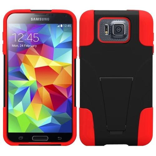 Insten For Samsung S5 Alpha G850F T-Stand Hybrid Rugged Hard Shockproof Protective Cover Case Skin Red